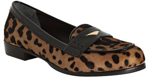 Miu tan and black leopard print pony hair loafers