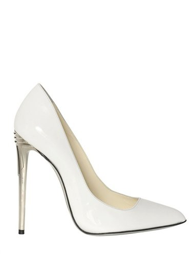 100mm White Patent Leather Pumps