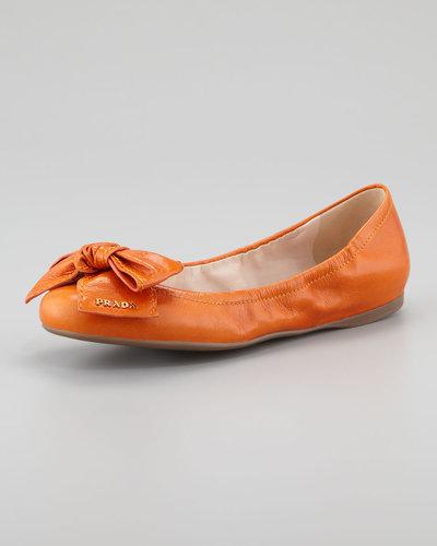 Prada Leather Logo Bow Scrunch Ballet Flat, Papaya