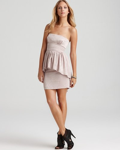 BCBGMAXAZRIA Strapless Peplum Dress