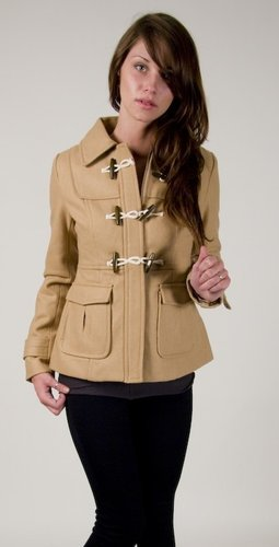 Tulle Short Jacket With Toggles In Khaki