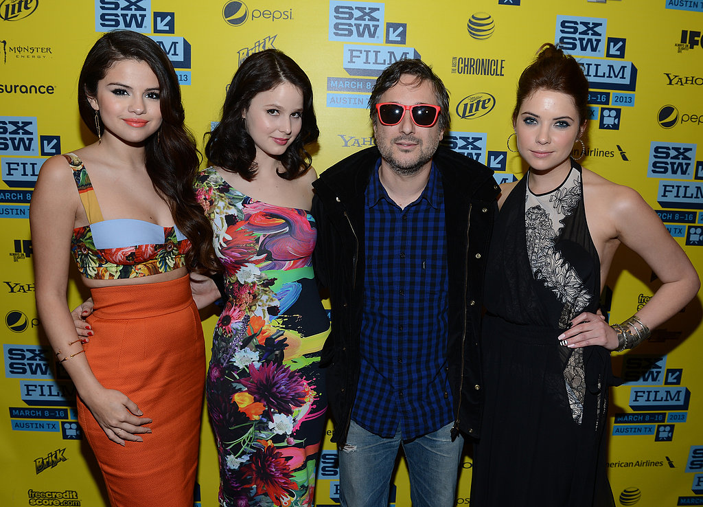 Selena Gomez, Rachel Korine, Harmony Korine, and Ashley Benson smiled for photos.