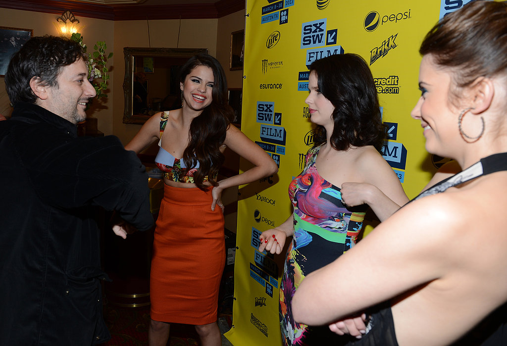 Selena Gomez, Rachel Korine, and Ashley Benson chatted with Harmony Korine on the red carpet.