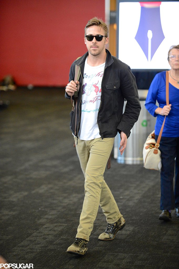 Ryan Gosling prepared to depart from LAX with Eva Mendes.