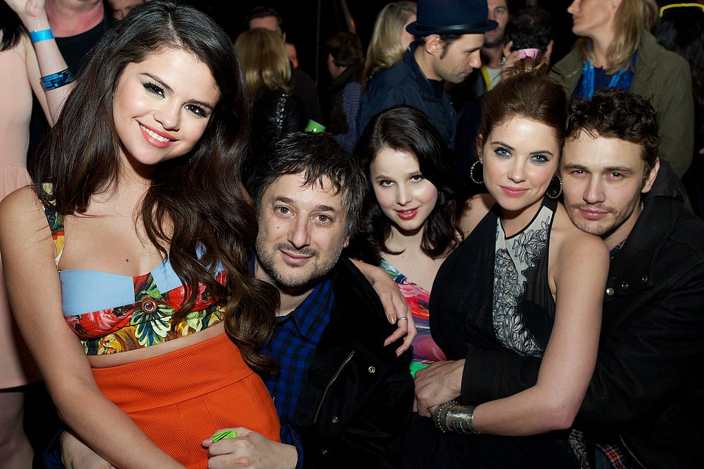 Selena Gomez, Harmony Korine, Rachel Korine, Ashley Benson, and James Franco huddled up at the Spring Breakers afterparty at SXSW.
