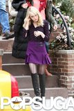Emma Stone wore a miniskirt on the NYC set of The Amazing Spider-Man 2.