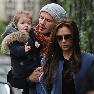 David and Victoria Beckham With Harper in London