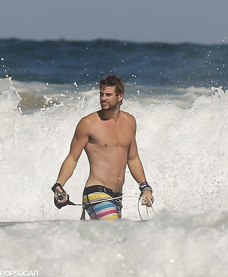 Liam Hemsworth went shirtless.
