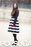 We love the ladylike take on Spring's bold black and white stripes. Source: Le 21ème | Adam Katz Sinding