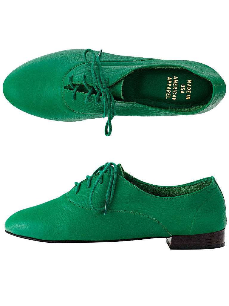 Oxfords are having a major moment, so polish off your St. Patrick's Day ensemble with these emerald American Apparel oxfords ($95) and a newsboy cap.