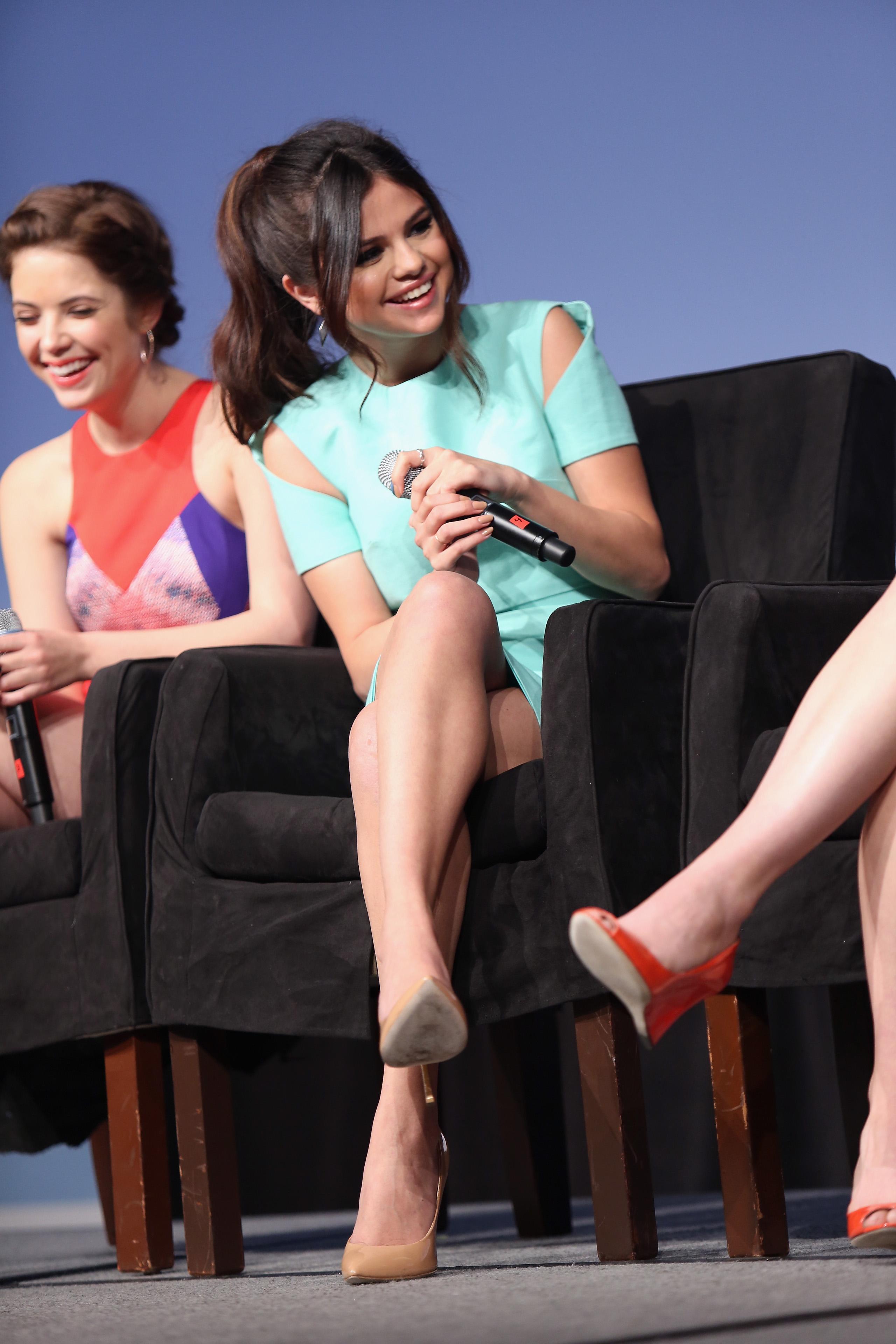 Selena Gomez had a laugh at the SXSW Spring Breakers press conference.
