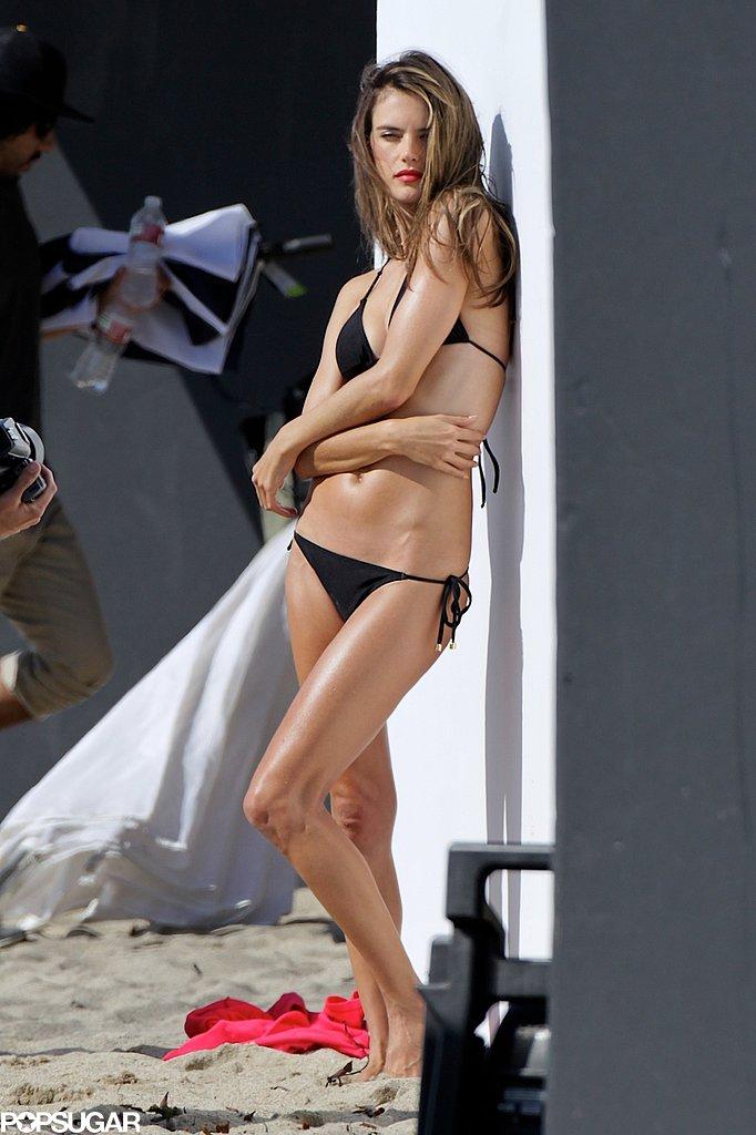 Alessandra Ambrosio modeled a black bikini.