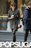 Anne Hathaway picked up a coffee in NYC.