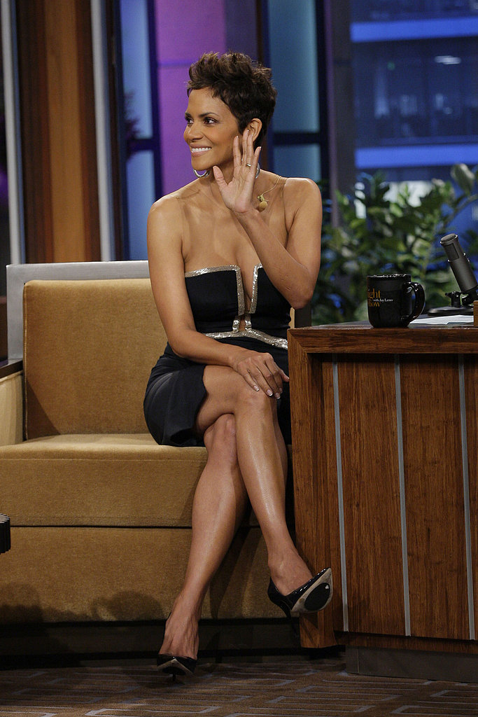 Halle Berry showed off her figure in a low-cut black dress.
