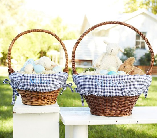 Navy Gingham Easter Basket Liners and Baskets