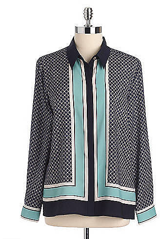 VINCE CAMUTO Printed Button-Down Blouse