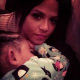Christina Milian snapped a sweet photo as her daughter, Violet, slept on her chest. Source: Instagram user christinamilian