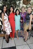 Zoe Saldana, Nina Dobreb, Kaley Cuoco, and Dianna Agron all posed with editor Janice Min from Us Weekly.