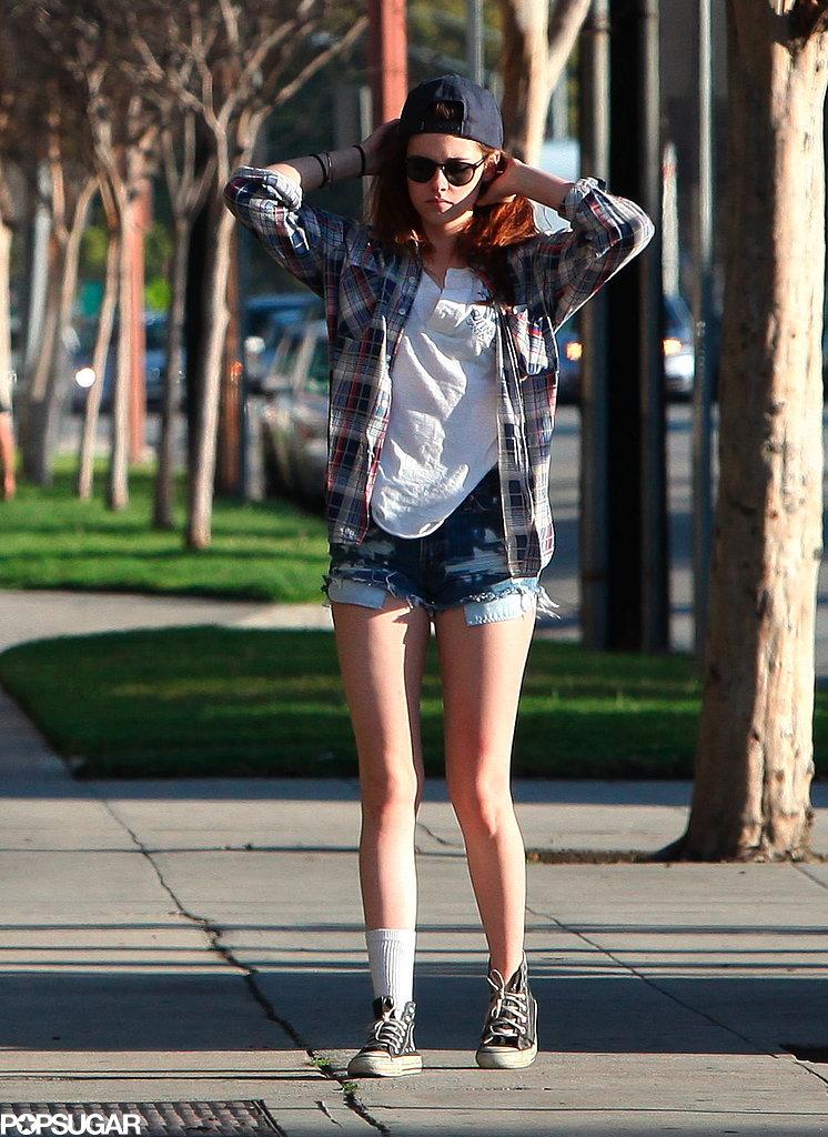 Kristen Stewart wore cutoff shorts.