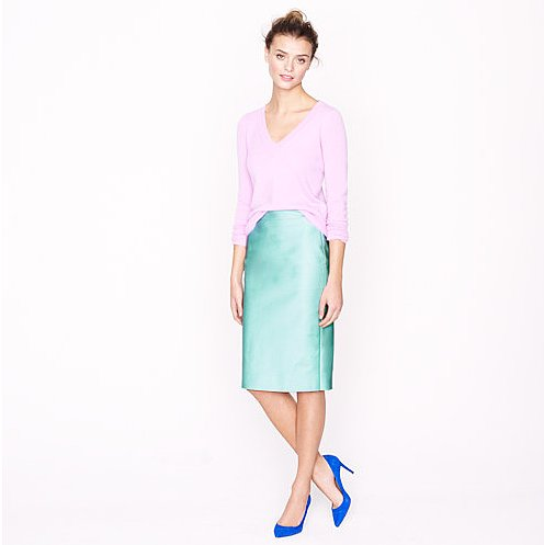 We'd wear J.Crew's No.2 pencil skirt ($110) just like this: with a lavender sweater and cobalt heels for a head-turning take on pastel power.
