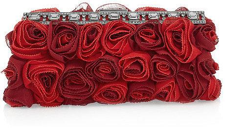 Valentino Silk-georgette rosette clutch