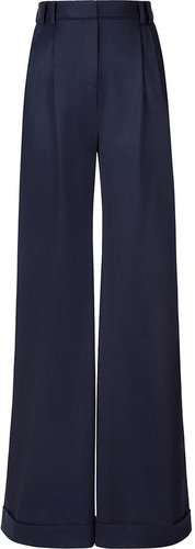 Jason Wu Navy Wide Leg Pants with Pleat Front