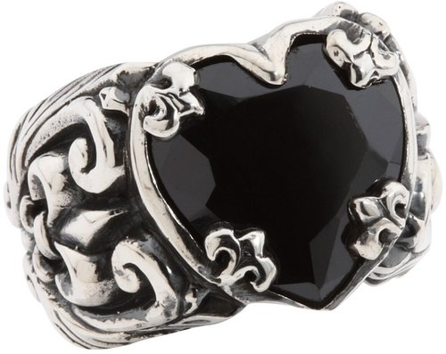 King Baby Studio - Black CZ Heart Ring (Sterling Silver) - Jewelry