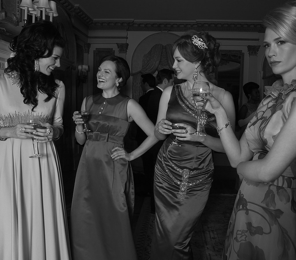 Jessica Paré, Elisabeth Moss, Christina Hendricks, and January Jones on Mad Men.