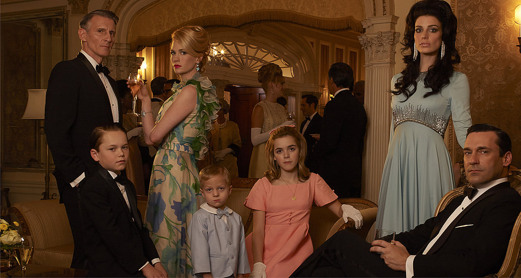 Christopher Stanley, Mason Vale Cotton, January Jones, Evan and Ryder Londo, Kiernan Shipka, Jessica Paré, and Jon Hamm on Mad Men.