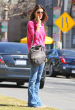 Alessandra Ambrosio kept it casual in jeans.