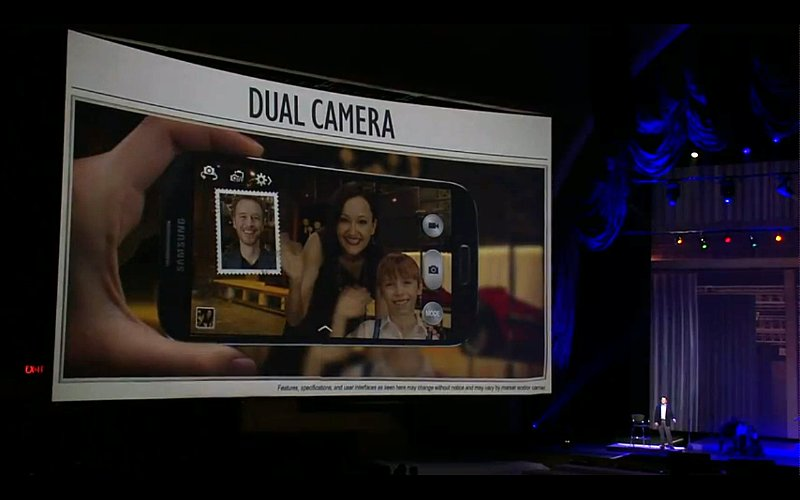 In the presentation, Samsung was really excited about its Dual Camera mode. Essentially, the feature uses both front- and rear- facing cameras during a video call and in photo or video capture modes.