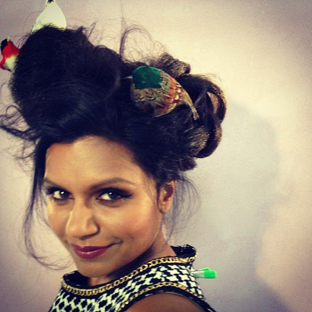 Mindy Kaling's hair was a bird's nest — literally. Source: Instagram user mindykaling