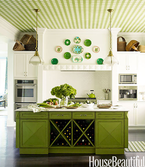 A green island and gingham wallpaper on the ceiling create a kitchen that is filled with personality.  Source: Eric Piasecki for House Beautiful