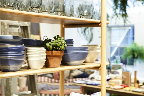 A verdant touch is nestled between stacks of ceramic bowls.