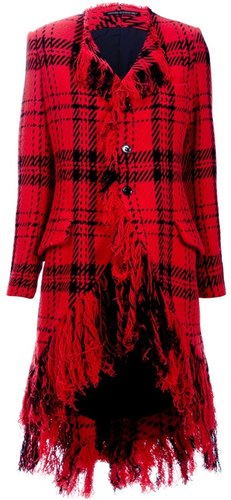 Yohji Yamamoto Vintage tartan fringe coat
