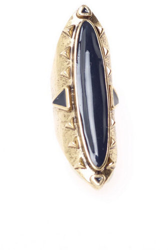 14kt Yellow Gold Plated Long Wood Ring with Navy Enamel in Yellow Gold - by Low Luv x Erin Wasson