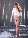 Studded Jacket & Lace Shorts