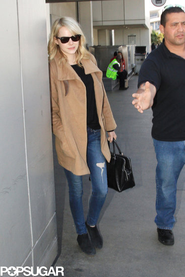 Emma Stone wore a pair of shades in LAX.
