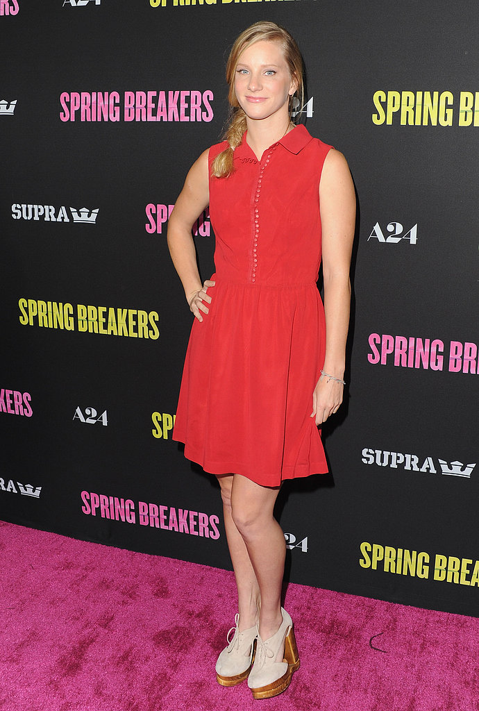 Heather Morris wore a red number.