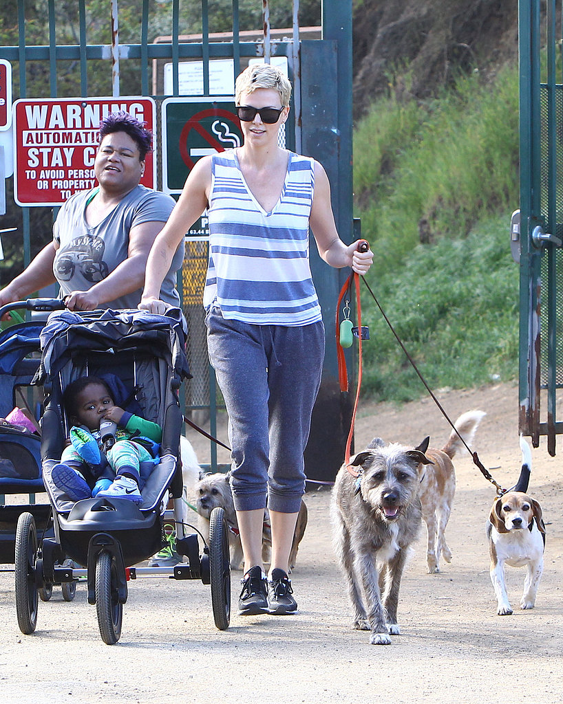 Charlize Theron went for a hike in Hollywood.