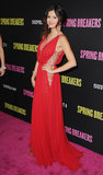 Selena Gomez wore a red gown.