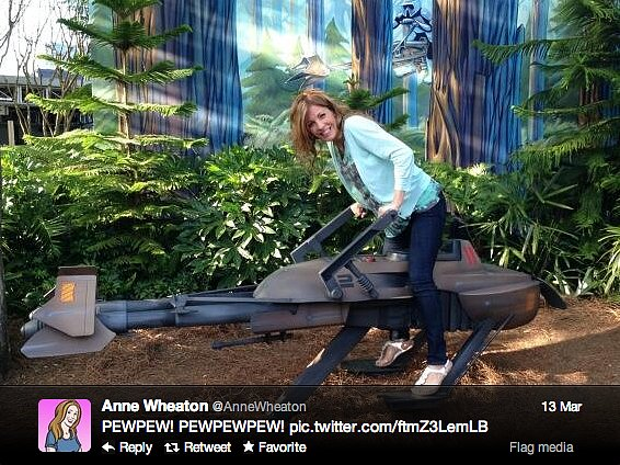Anne Wheaton (wife of Wil) takes over Endor.