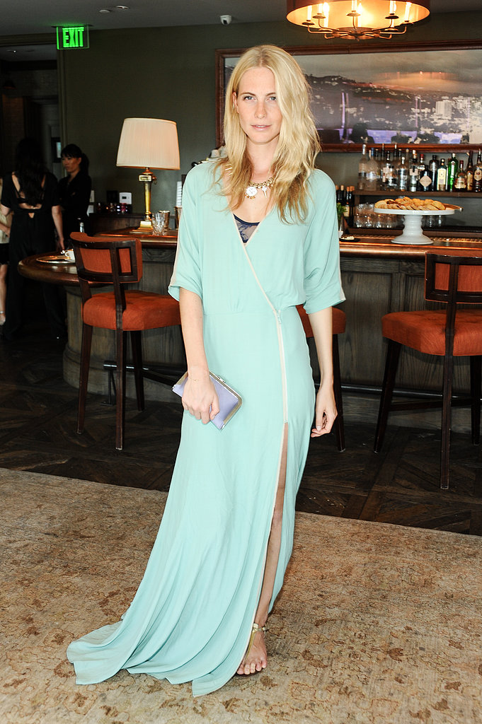 Poppy Delevingne exuded easy elegance in a mint green maxidress at L.K.Bennett's LA tea luncheon.