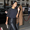 Zoe Saldana Wearing Leather Pants