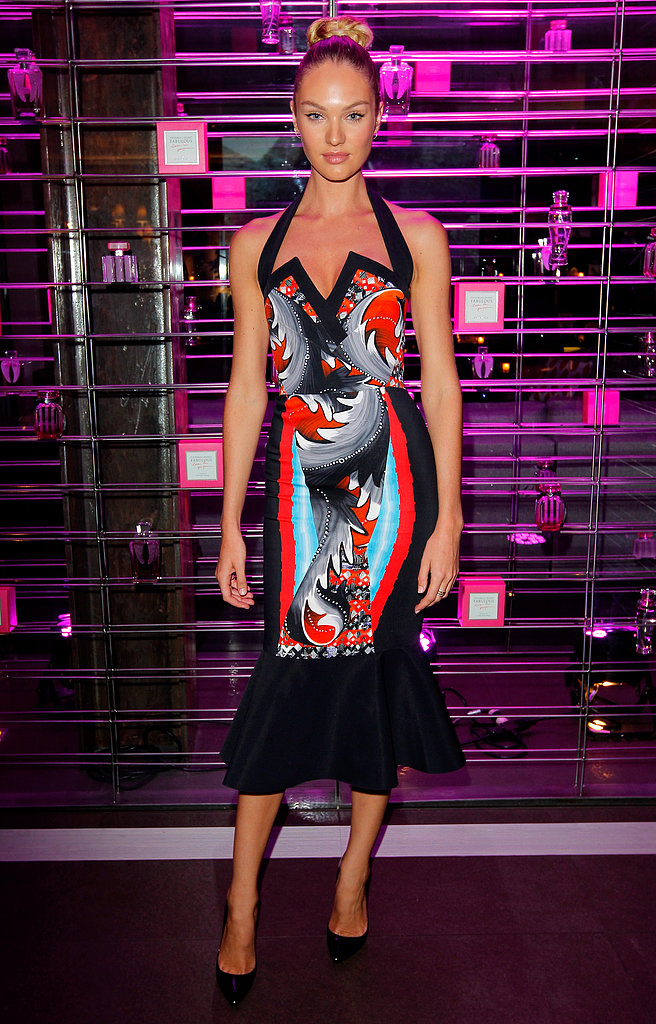 Candice Swanepoel served up a curve-conscious look with a little edge in Peter Pilotto's printed dress at the Victoria's Secret swim launch afterparty.