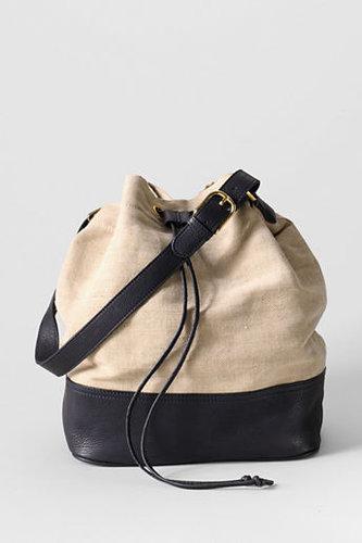 Women's Linen and Leather Bucket Bag
