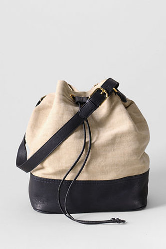 Women&#039;s Linen and Leather Bucket Bag