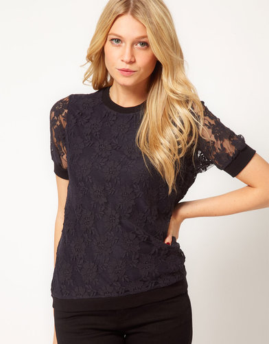 ASOS T-Shirt in Lace with Band Detail