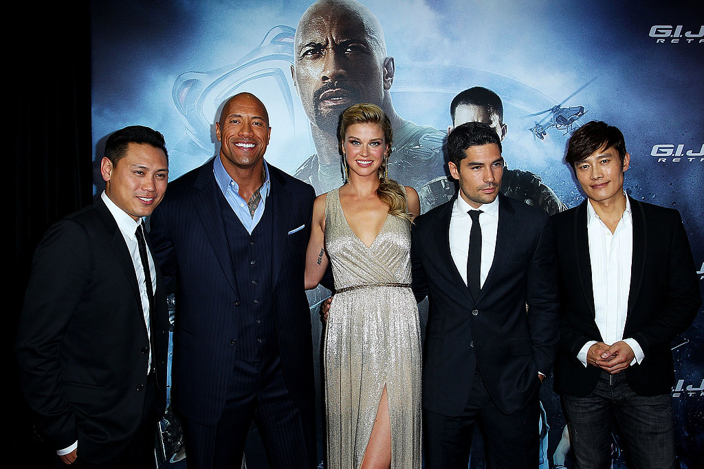 Jon M. Chu, Dwayne Johnson, Adrianne Palicki, DJ Cotrona and Byung-Hun Lee