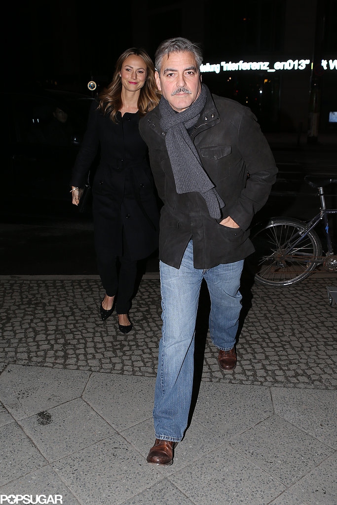 George Clooney and Stacy Keibler went to dinner in Berlin.